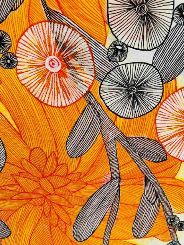 Abstract Orange And Black Blooms CZ19018