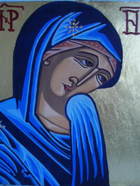 The Sheltering Virgin, Icon Made With Egg Tempera And Genuine Gold Leaf