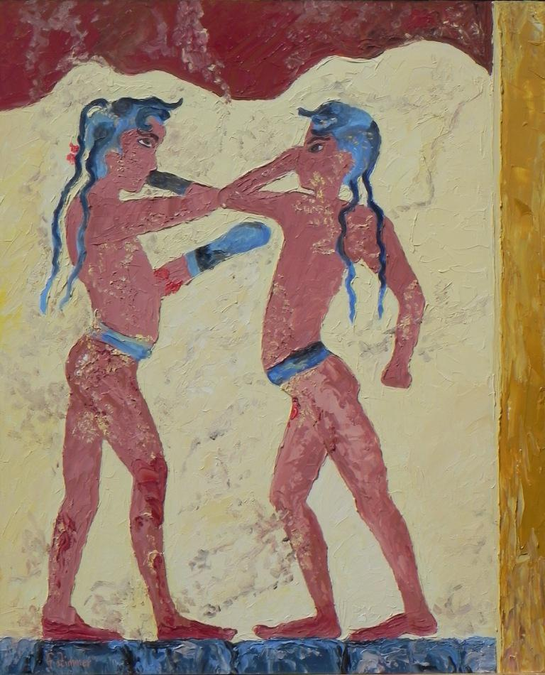 Fresco Of Ancient Greek Boxing By Gisela Zimmer For Sale