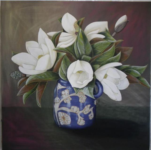 Magnolias From My Garden In Annies Blue Jug