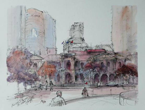 Post Office Square Brisbane - inks on paper