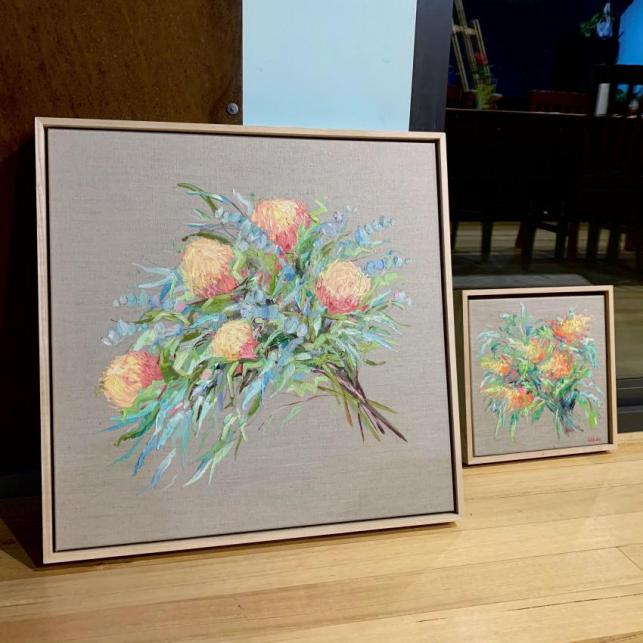Banksia Bouquet - Framed Oil Painting On Linen
