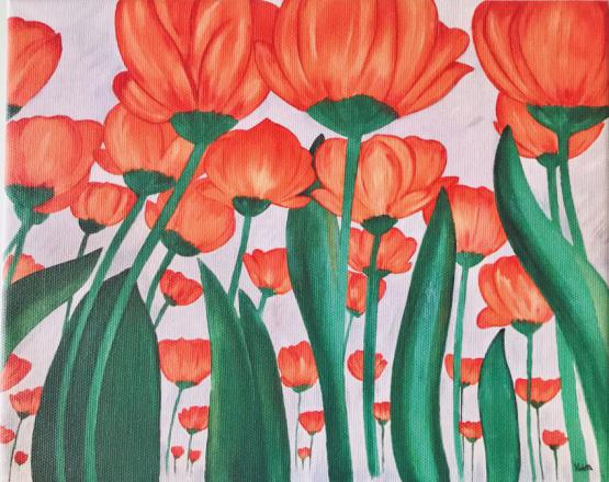 Field Of Orange Poppies' Print On Canvas 1 Of 10 Size A