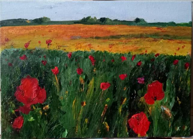 French Field with Poppies in Summer