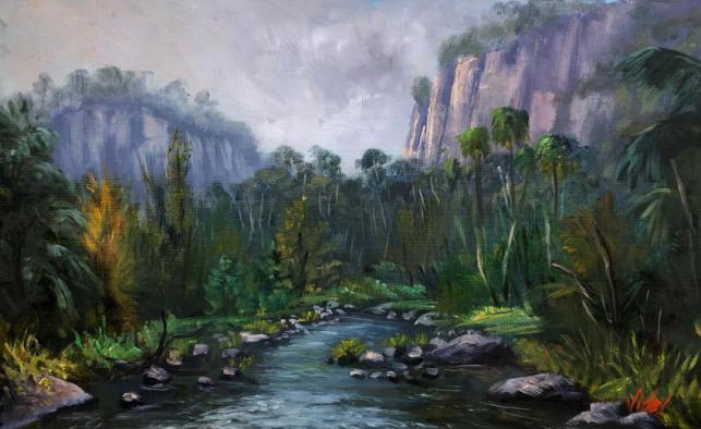 Moody Morning At Carnarvon Gorge, Queensland - Oil On Loose Linen