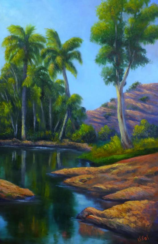 Palm Valley After The Rain - Outback Oil Painting