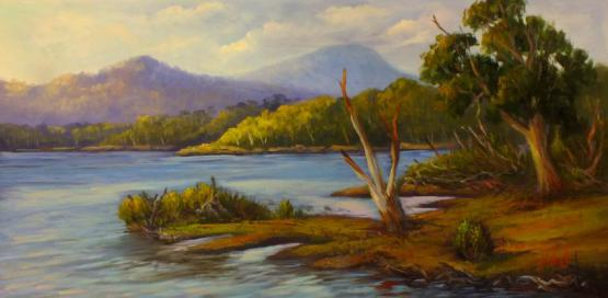 A View Of Lake St Clair, Tasmania Oil On Canvas
