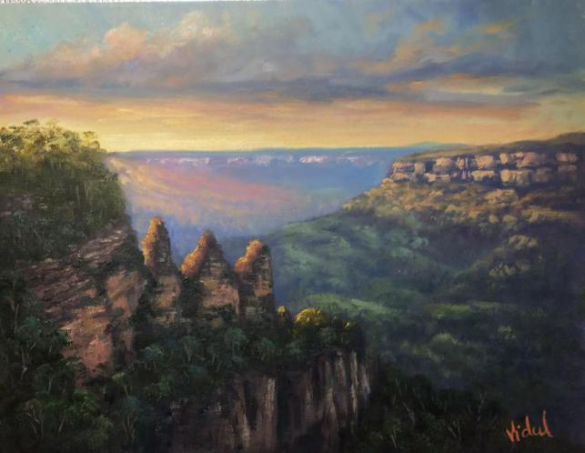 Morning Light On Three Sisters, Katoomba- Oil On Stretched Linen - Ready To Hang